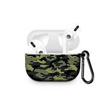 Силиконовый чехол с карабином для наушников Apple Airpods Pro Армейский зеленый камуфляж