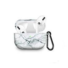 Силиконовый чехол с карабином для наушников Apple Airpods Pro Белый мрамор