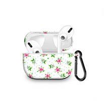 Силиконовый чехол с карабином для наушников Apple Airpods Pro Розовые цветы на белом