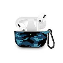 Силиконовый чехол с карабином для наушников Apple Airpods Pro Синий камуфляж