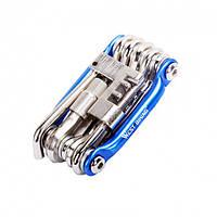 Карманный мультитул набор ключей для велосипеда West Biking 0719007 11 в 1 Blue (KW-ZHGJ)