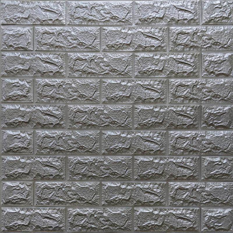 Декоративная 3D панель стеновая самоклеющаяся под кирпич СЕРЕБРО 700х770х7мм