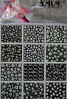 Водные наклейки для ногтей на листе 12 видов, наклейки YRE NL-02, наклейка на лак