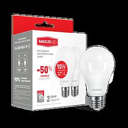 LED лампа Maxus A60 10W 3000K (950Lm) 220V E27. 2-LED-561-01. Акционная упаковка