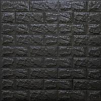 Декоративна 3D панель самоклейка під цеглу Чорний 700х770х7мм Os-BG19