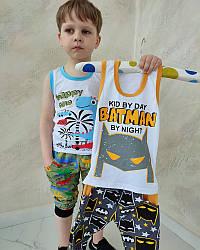 Річний комплект для хлопчика майка та бриджі Бетмен і Діно