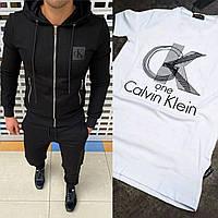 Тройка! Спортивный мужской костюм CK штаны кофта с капюшоном чёрный с белой футболкой S M L XL XXL