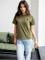 Базовая хлопковая футболка цвета хаки с принтом вышивкой  Модные женские футболки 2021