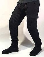 Джинсы мужские джоггеры черные с накладными карманами на манжете