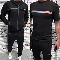 Тройка! Спортивный мужской костюм prada штаны кофта с капюшоном и футболка чёрный S M L XL XXL