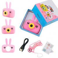Дитячий фотоапарат рожевий сhildren's fun camera, цифрова камера для дітей заєць, фотік (дитячий фотоапарат)