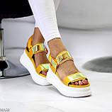 ТОЛЬКО на 24 см!!! Босоножки спортивные женские желтые / золото эко кожа+ текстиль, фото 3