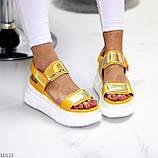 ТОЛЬКО на 24 см!!! Босоножки спортивные женские желтые / золото эко кожа+ текстиль, фото 5