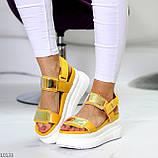 ТОЛЬКО на 24 см!!! Босоножки спортивные женские желтые / золото эко кожа+ текстиль, фото 2