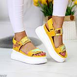 ТОЛЬКО на 24 см!!! Босоножки спортивные женские желтые / золото эко кожа+ текстиль, фото 4