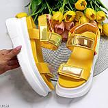 ТОЛЬКО на 24 см!!! Босоножки спортивные женские желтые / золото эко кожа+ текстиль, фото 6
