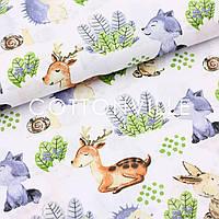 Хлопковая ткань Ежики, зайки, олени