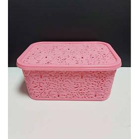 Корзина для хранения бытовых вещей Elif Plastik Ажур 6 л Розовый