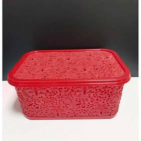Корзина для хранения бытовых вещей Elif Plastik Ажур 6 л Красный