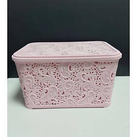 Корзина для хранения бытовых вещей Elif Plastik Ажур 7,5 л Розовый