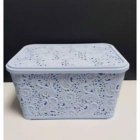 Корзина для хранения бытовых вещей Elif Plastik Ажур 7,5 л Голубой