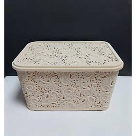 Корзина для хранения бытовых вещей Elif Plastik Ажур 7,5 л Кремовый