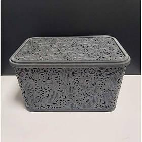Корзина для хранения бытовых вещей Elif Plastik Ажур 7,5 л Серый