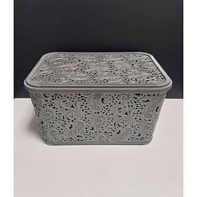 Корзина для хранения бытовых вещей Elif Plastik Ажур 7,5 л Металлик