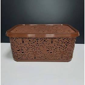 Корзина для хранения бытовых вещей Elif Plastik Ажур 10 л Коричневый (377)