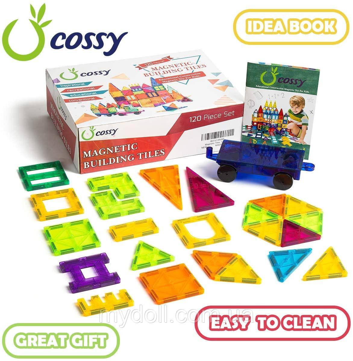Магнитный конструктор cossy Kids Magnet Toys Magnetic Tiles, 120 PCs Magnetic Building Blocks with 2 Car
