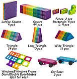 Магнітний конструктор cossy Kids Magnet Toys Magnetic Tiles, 120 PCs Magnetic Building Blocks with Car 2, фото 4