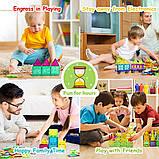Магнітний конструктор cossy Kids Magnet Toys Magnetic Tiles, 120 PCs Magnetic Building Blocks with Car 2, фото 6