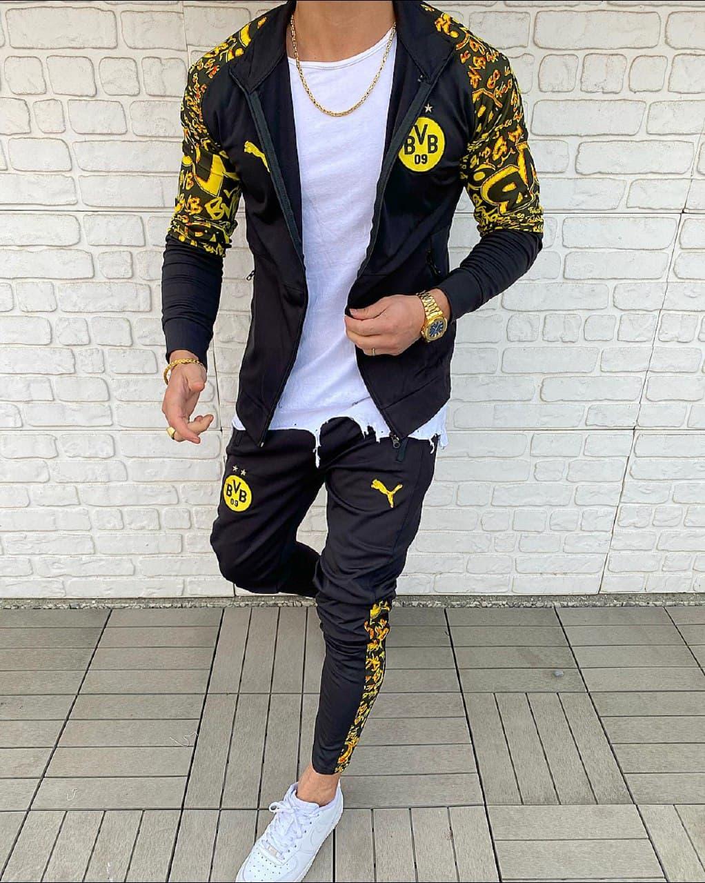 Мужской спортивный костюм Puma Black/Yellow