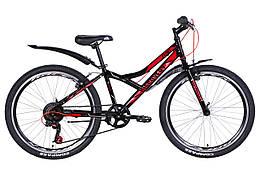 Велосипед ST 24Discovery FLINT Vbr рама 13 з крилом, Чорний / червоний (OPS-DIS-24-225)