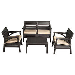 Набір меблів Маямі (2 крісла+диван+стіл) IRAK PLASTIK Темно-коричневий