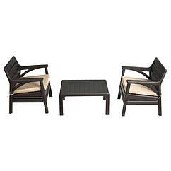 Набір меблів Барселона (2 крісла+столик) IRAK PLASTIK Темно-коричневий