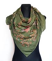 Легкий платок Бажена 95*95 см оливковый
