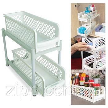 Органайзер Portable 2 Tier Basket Drawers | Органайзер для ванної| Полиця для ванної, кухні