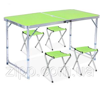 Стіл і стільці Easy Campi 1+4 120х60х70см Зелений| Стіл зі стільцями для пікніка| Розкладний стіл