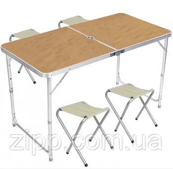 Стіл і стільці Easy Campi 1+4 120х60х70см Світле дерево| Стіл зі стільцями для пікніка| Розкладний стіл