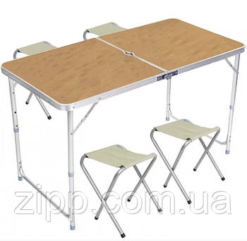 Стол и стулья Easy Campi 1+4 120х60х70см Светлое дерево  Стол со стульями для пикника  Раскладной стол