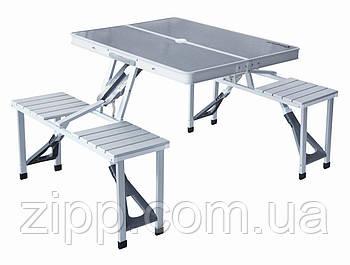 Стіл Складной Для Пікніка/4 Лавки Алюміній| Стіл з лавками для пікніка| Розкладний стіл