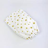 """Детская простынь на резинке в кроватку BabySoon """"Золотые звёзды"""" 120 х 60 см, фото 1"""
