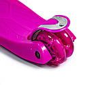 Дитячий самокат MAXI Pink  Самокат рожевий  Дитячий триколісний самокат  Самокат MAXI, фото 3