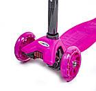 Детский самокат MAXI Pink| Самокат розовый| Детский трехколесный самокат| Самокат MAXI, фото 4