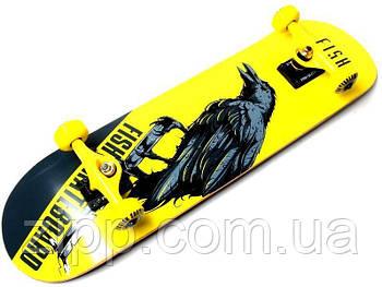 Скейт деревянный Fish Skateboard с рисунком Raven| Скейтборд| Скейт для катания| Скейтборд трюковой