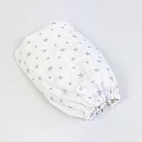 """Детская простынь на резинке в кроватку BabySoon """"Серебряные звёзды"""" 120 х 60 см, фото 1"""