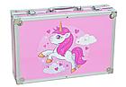"""Набор для рисования """"Единорог"""" в  чемодане на 145 предметов    Набор для детского творчества Розовый, фото 4"""