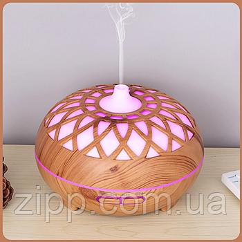 Аромадиффузор увлажнитель воздуха c подсветкой | Aroma Diffuser на 400 мл. светлое дерево