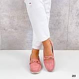 Стильные женские туфли - лоферы розовые / пудра натуральная замша, фото 4